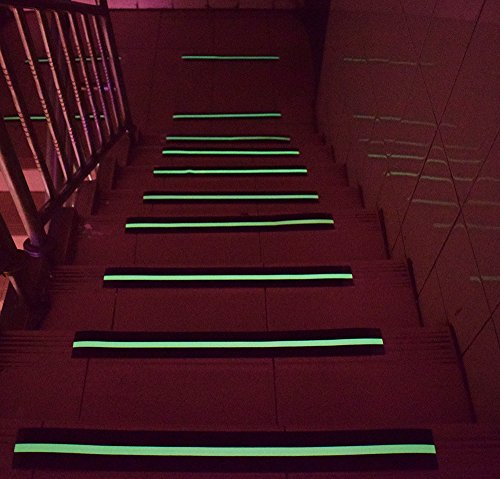 Anti Slip Tape Luminous , Yorwe Glowing in the Dark with Green Fluorescent Strips Safety Track Tape (2''width x 190''long,Luminous) by Yorwe (Image #5)