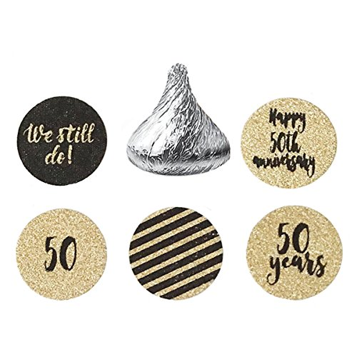 MAGJUCHE 50th Wedding Anniversary Stickers – Gold Glitter Circle Party Sticker Labels- We Still Do, Fit Hershey's Kisses, 200 Count ()