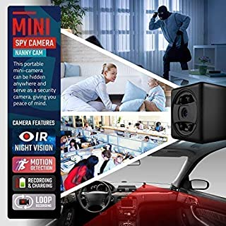 Lilexo Mini Camera - 1080P Small Security Camera - Cop Cam - Mini HD Wireless Nanny Cam with Night Vision & Motion Detection Indoor/Outdoor Portable Covert Camera for Home, Car, Office (No Wi-Fi)