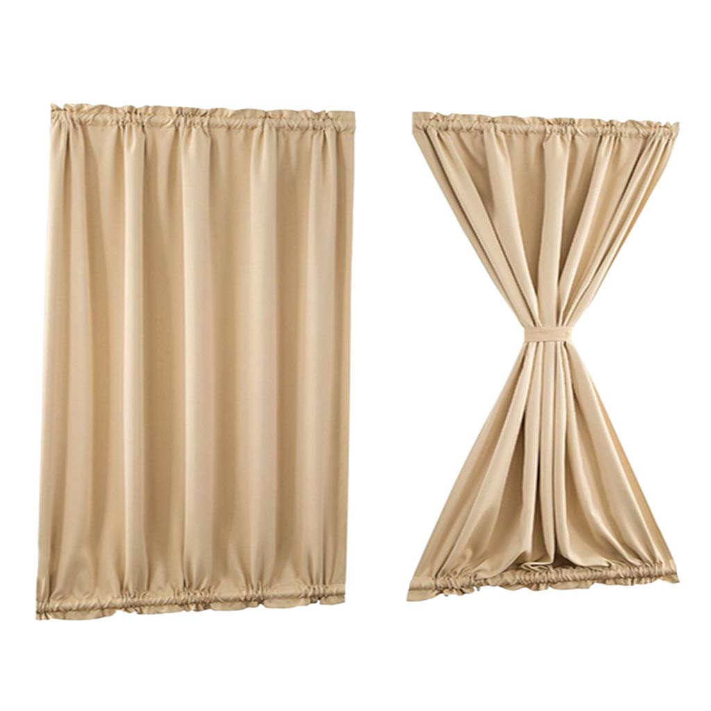 Wide 137 by Long 102cm Beige Homyl Light Reducing French Door Curtain Thermal Insulated Blackout Curtain Panel for Home Office Front Door