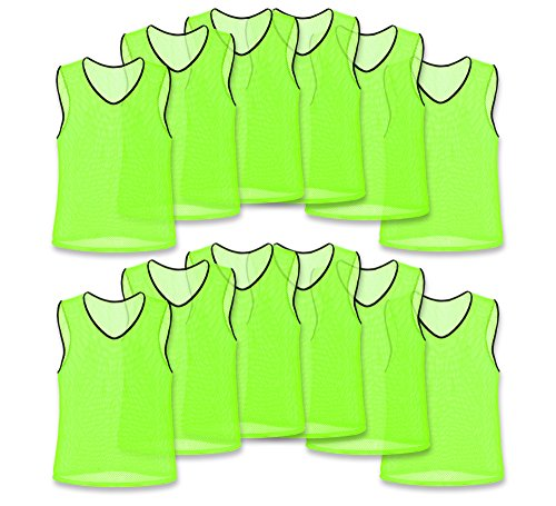 Nylon Mesh Scrimmage Team Practice Vests Pinnies Jerseys Bibs for Children Youth Sports Basketball, Soccer, Football, Volleyball (Yellow, Adult)