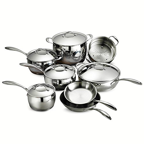 Tramontina 80102/202DS Gourmet Domus Stainless Steel, Induction-Ready, Impact-Bonded, Tri-Ply Base Cookware Set, 13 Piece, Made in Brazil (Cookware Stainless Steel Tramontina)
