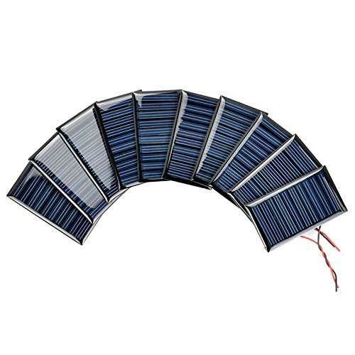 AOSHIKE 10Pcs 5V 30mA Micro Solar Panels for Solar Power Mini Solar cells DIY Electric Toy Materials photovoltaic cells 53x30MM(5V 30mA 53x30MM) by AOSHIKE