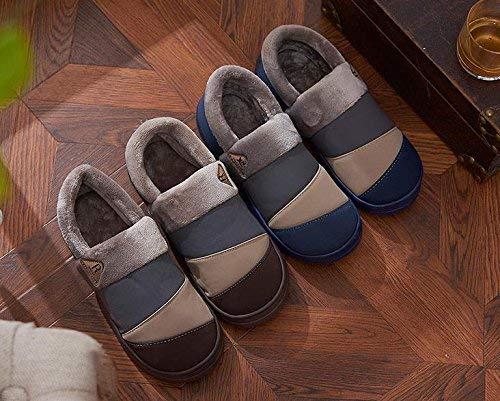FuweiEncore Winter Herren Hausschuhe Nubuk Leder Leder Leder Flaum ausgekleidet Haus Baumwolle Schuhe, 45 (Farbe   -, Größe   -) 23f2a4