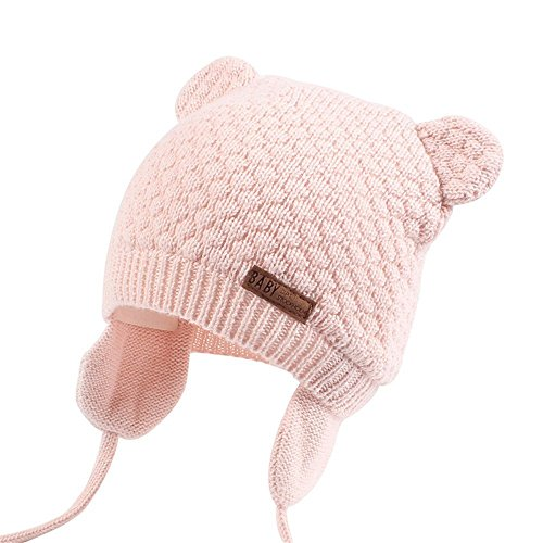 Pink Winter Beanie (Joyingtwo Soft Warm Knit Wool Cute Bear Baby/Infant/Toddler Beanie Hat with Earflap for Winter/Autumn, Pink S)