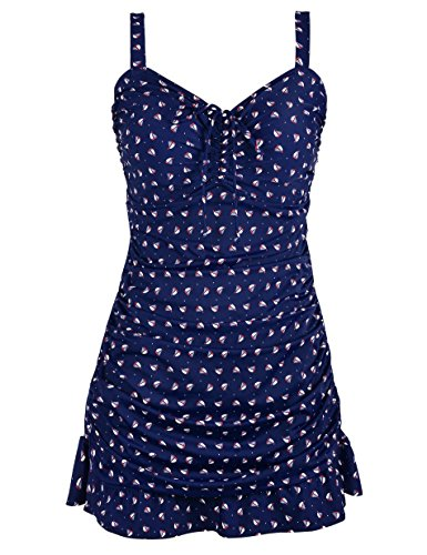 Septangle Women's Plus Size Swimdress One Piece Ruched Cover Up Bathing Suit (Navy Blue,US 10)