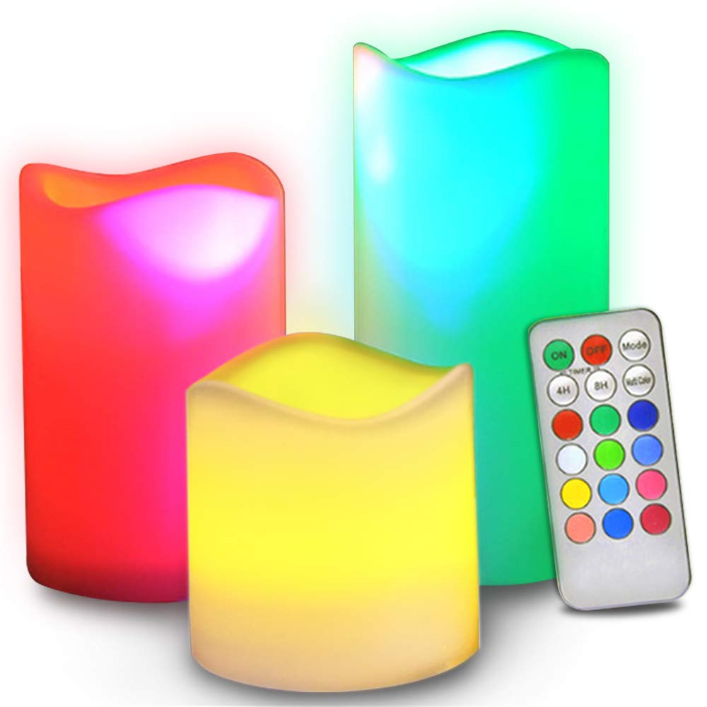 Novelty Place Flameless Candles with Remote Real Flickering Real Ivory Color Battery Powered LED Pillars Candle with Remote Control and Timer Function 12 Preset Multi Colors