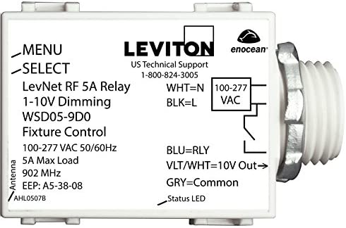 Leviton WSD05-9D0 LevNet RF 902MHz Wireless 5A Relay 1-10V Dimming Fixture Controller 100-277V