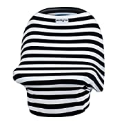 POMGOO - Carseat Canopy, Carseat Covers For Babies, Shopping Cart Covers For Baby, Infinity Nursing Scarf, Car Seat Ponchos, Shopping Cart Carrier For Bebe Au Lait - Black,Cream