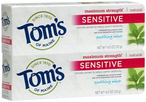 Tom's of Maine Sensitive Maximum Strength Anticavity Toothpaste, Soothing Mint - 4 oz - 2 pk (Toothpaste Of Toms Anticavity Maine)