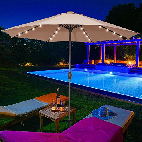 Le Papillon 9 Feet 32 LED Lights Market Patio Umbrella with rechargeable battery, Beige