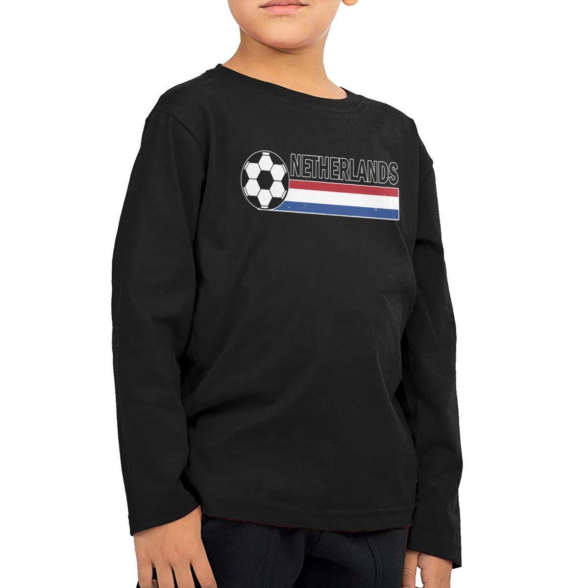 Netherlands Flag Soccer Football Kids Boys Girls Crewneck Long Sleeve Shirt T-Shirt for Toddlers