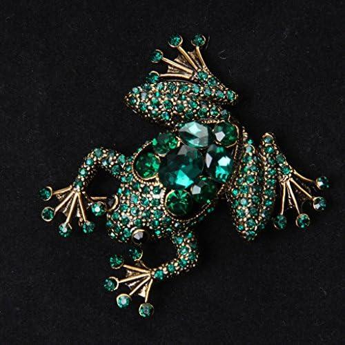 実用/耐久性 2個 レトロな 緑の水晶/ラインストーン カエル 襟のブローチピン クリスマス/結婚式の宝石類