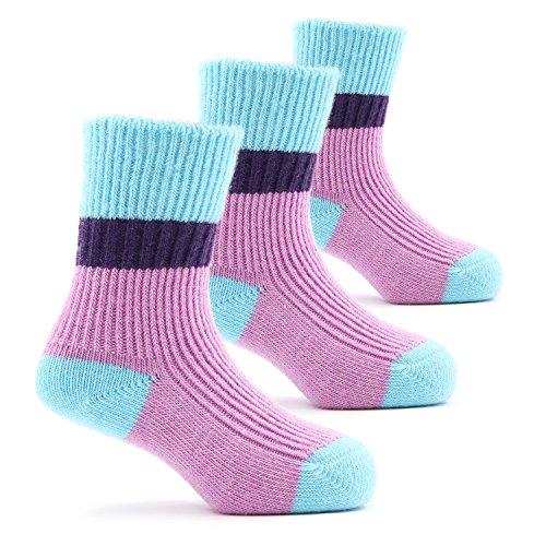 Girls Thick Wool Socks Kids Winter Seamless Socks 3 Pack 3-5 ()