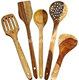 R Crafts Handmade Wooden Non-Stick Serving And Cooking Spoons Kitchen Tools Utensil, Set Of 5