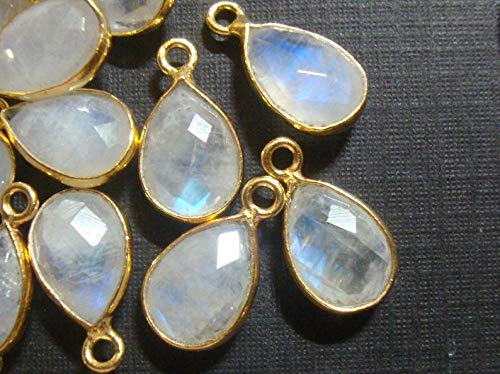 - Bulk 5 pcs, 14x8mm, Handmade Natural Moonstone Gold Vermeil Sterling Silver Bezel Rim Teardrop Pendant Charm Finding