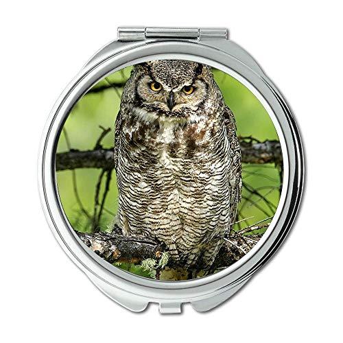 Yanteng Mirror,Makeup Mirror,owl English Purdue owl Bird,Pocket Mirror,Portable Mirror (Furniture Ky Bowling Green)