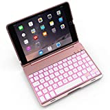 iPad Mini Keyboard Case Bosssee F8S Mini Aluminum Alloy Clamshell Case with 7 Colors Backlit Wireless Bluetooth Keyboard Protective Cover for iPad Mini 2/3 (Rose Gold)