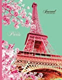 Eiffel Tower, Paris Journal - Unruled Blank Paper: 8.5 x 11 Notebook, Pink And Mint Green (Vintage Notebook)