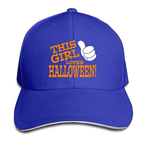 Runy Custom This Girl Loves Halloween Adjustable Sanwich Hunting Peak Hat & Cap RoyalBlue