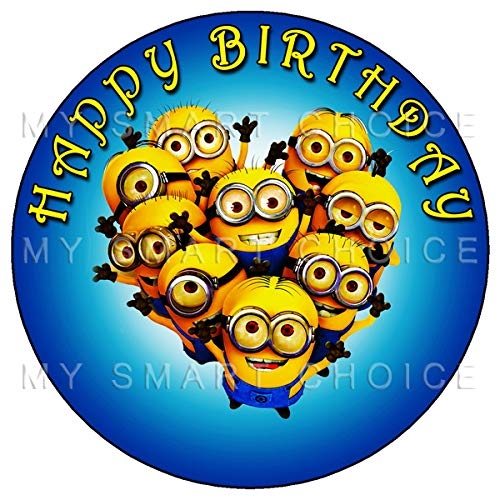 Minion Themed Party (7.5 Inch Edible Cake Toppers - Minions Themed Birthday Party Collection of Edible Cake)