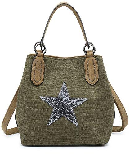 BHSL Canvas Fabric Trendy Designer Inspired Medium Size Glitter Star Mini Studs Deco Top Handle Shoulder Bag (Green) (Inspired Canvas Designer Handbag)