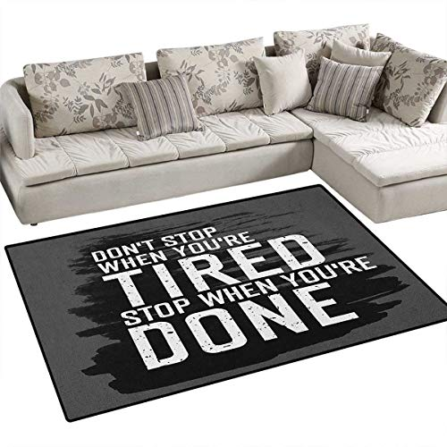 """Fitness,Rug,Motivational Quote Dont Stop Encouraging Keep Moving Brush Strokes,Floor Mat for Kids,Charcoal Grey Black White Size:36""""x60"""""""