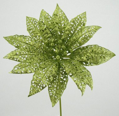 (Package of 12 Lime Green Glitter Lace Poinsettia Stems )