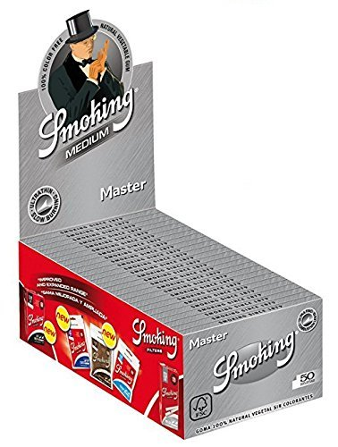 50 Smoking Brand Master Ultra Thin Ultra Slim Leaf 1 1/4 Cigarette Rolling Papers Packs (50 Leaves/Pack) + Beamer Smoke Sticker. For Legal Smoking Herbs, Rolling Tobacco, Herbal Mixes, Rollers,Ryo,Myo