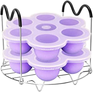LIANGZHILIAN Silicone Egg Bites Molds and Steamer Rack Trivet with Heat Resistant Handles Fit Instant Pot Accessories, 7pcs/set for 6qt & 8qt Electric Pressure Cooker Purple