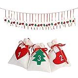 OurWarm Felt Christmas Countdown 2018, 24 Days Advent Calendar Garland Sacks Holiday Decorations