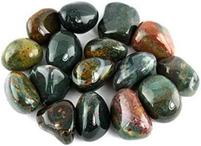 """Crystal Allies Materials: 1/2lb Bulk Tumbled Bloodstone Stones from South Africa - Large 1""""+ Polished Natural Crystals for Reiki Crystal Healing *Wholesale Lot*"""
