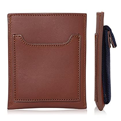 Men's Slim Wallet, Genuine Leather & Fine Tweed - Credit Card, ID & Cash Slots with Coin Pouch