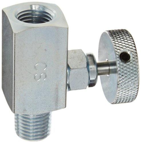 PIC Gauge NVS-CS-1/4-GS180-MXF Carbon Steel Small Body Straight Needle Valve with Round Handle (Gas), 1/4'' Male NPT x 1/4'' Female NPT Connection Size, 6000 psi Pressure by PIC Gauges