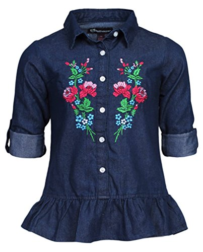 'Dollhouse Girls\' Convertible Sleeve Peplum Denim Top with Floral Embroidery, Dark, Size 4'