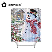 Custom Winter Holiday Merry Christmas Happy Snowman and Cardinals bathroom shower curtain polyester fabric waterproof 72 x 72 inch