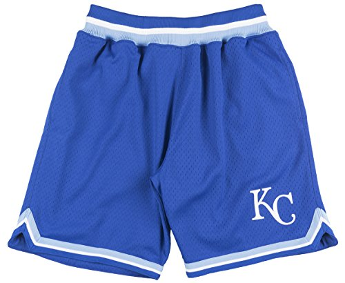 (Mitchell and Ness Kansas City Royals Mens Playoff Win Shorts in Blue)