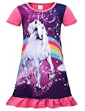Cotrio Girls Unicorn Star Rainbow Print Nightgown Nightie Princess Night Dresses Size 8 (130, 7-8Years, Pink)