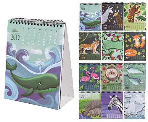 2019 Desktop Flip Calendar - Monthly Standing Desk Calendar, Safari Animals Critter Collection Design, Easel Style Top Spiral Bound, 6 x 3 x 7.8 Inches