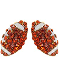 Mini Pavé Football Rhinestone Stud Earrings - Orange Crystals with White Enamel Stripes