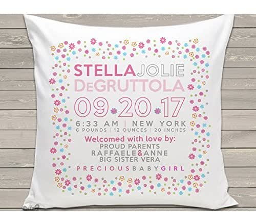 Birth announcement new baby gift custom flowery pillow