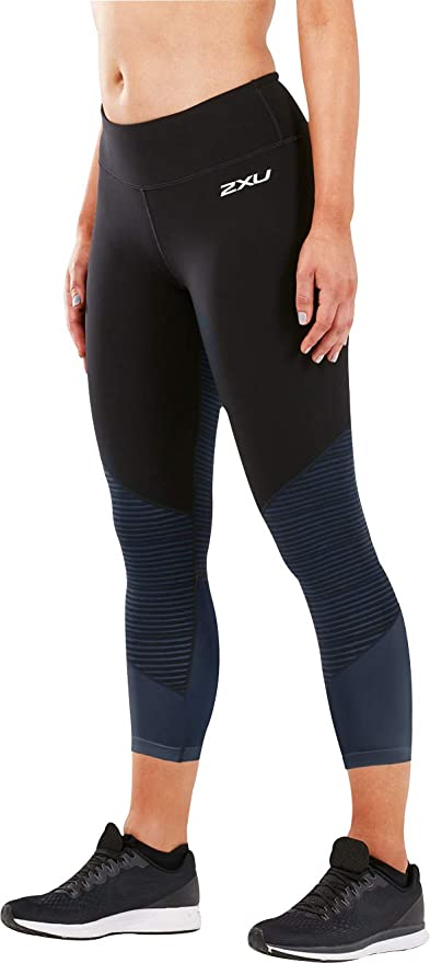 a640a7e30e2ff8 2XU Fitness Mid Rise Colour Block Womens 7/8 Compression Tights - Black-XS