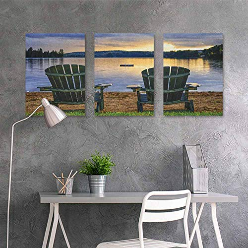 (Oil Painting Modern Wall Art Posters,Seaside Two Wooden Chairs on Relaxing Lakeside at Sunset Algonquin Provincial Park Canada,for Living Room,Dinning Room, Bedroom 3 panels,16x24inchx3pcs Navy Green)