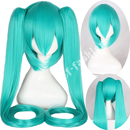 Price comparison product image Cfalaicos Long Straight Hatsune Miku Vocaloid Cosplay Hair Wig (Light Blue)