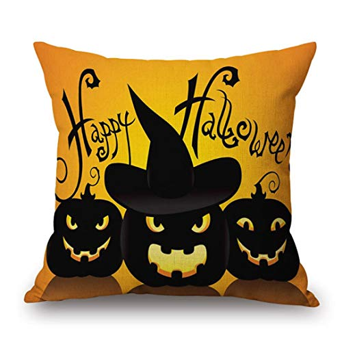 GREFER Halloween Decorations Pillow Cases Linen Sofa Cushion Cover Home Decor Happy Halloween (C) ()