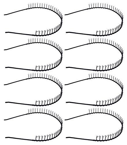 STHUAHE 8 PCS Unisex Black Metal Teeth Comb Hair Hoop Hairband Headband Hair Accessories by Beauty hair (8 Black) ()