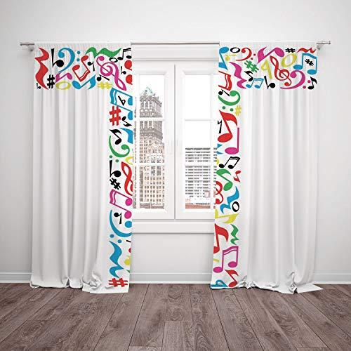 2 Panel Set Satin Window Drapes Kitchen Curtains,Letter T Uppercase T Letter Colorful Sheet Music Elements Font Alphabet Design Art Style Decorative Multicolor,for Bedroom Living Room Dorm Kitchen Caf