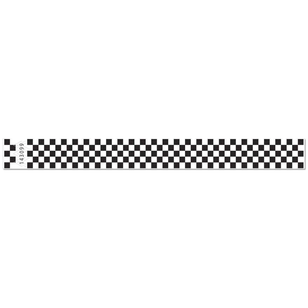 National Bingo Tyvek Checkered Wristbands - 500 Wristbands PER Pack - (National Bingo) (Black)