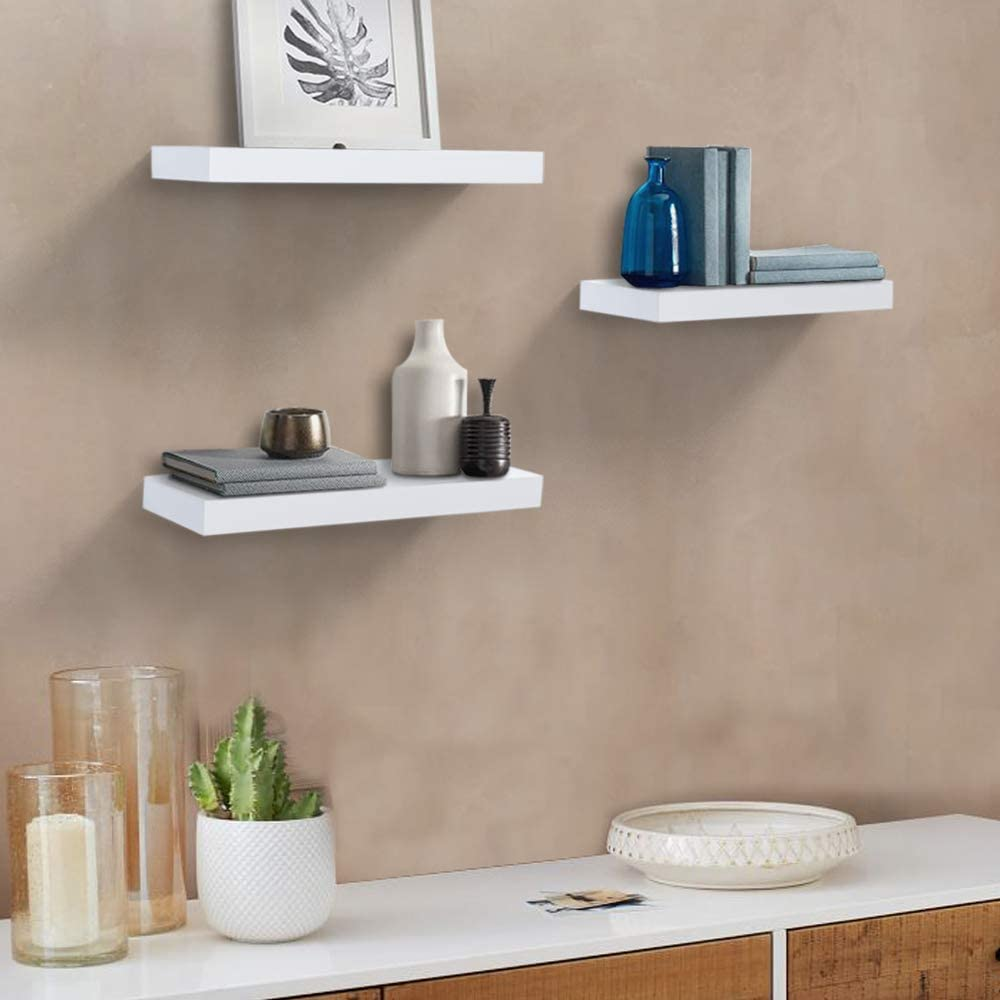38 x 15 x 3.2cm Set of 3 Display Ledge Shelves Wide Panel for Bedroom Office Kitchen Living Room AHDECOR Rustic Wood Floating Wall Mounted Shelves