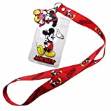 Disney Mickey Mouse ID Holder Red LANYARD Keychain w/ Logo Charm Lot of 60